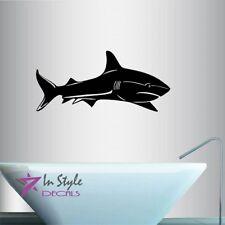 Vinyl Decal Bull Shark Fish Ocean See Bathroom Shower Any Room Wall Sticker  451