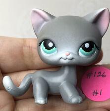 💖🐱Authentic Littlest Pet Shop #126 Shorthair Cat +1 Random LPS Grey Teal Eyes