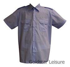 Mens Formal Work Uniform Prison Police Pilot Office Shirts Removable Epaulettes