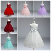 Baby Kids Girls Princess Costume Wedding Bridesmaid Gown Long Dress 4-12 Age