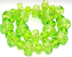 "Sistersbeads ""M-Limeade"" Handmade Lampwork Beads"