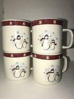 Royal Seasons Stoneware CHRISTMAS Snowman Burgundy 4 COFFEE TEA CUPS MUG CHINA