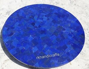 "18""  Marble Corner Table Top with Lapis Lazuli Stone Coffee Table Random Work"