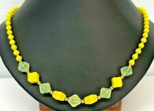 Beautiful Gold Tone Yellow Beads Necklace 18 inches