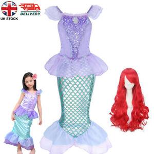 Kids Ariel Sequin Little Mermaid Dress Up Girls Princess Party Fancy Costume Wig