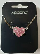 Cute Cat Lover Pink Love Heart Pendant Chain Necklace Gift for Girls & Women