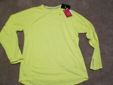 BRAND NEW Mens NIKE RUNNING L/s SOLAR YELLOW w/ Silver Reflective MD FREE SHIP