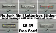 No Junk Mail letterbox sticker. Front, Entrance, Door,Gate,Window,