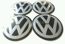 4 X VW 120MM CENTRE CAP COVERS BLACK ALUMINIUM CONCAVED GOLF PASSAT POLO