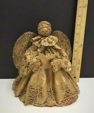 Vintage Gold Draped Cloth & Lace Paper Mache Angel Hand Made 1950's