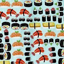 Sushi Japanese Sushi Rolls and Sashimi Blue Cotton Fabric Fat Quarter