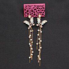 Betsey Johnson Enamel Crystal Butterfly Pearl Tassel Earbob Dangle Earrings