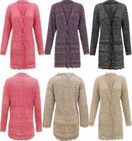 Women Ladies Knitted 2 Tone Cable 2 Button Boyfriend Crochet Cardigan Top Plus