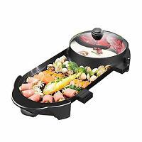 2in1BarbecueelettricoTeppanyaki Cook Fry Pan BBQ Forno Hot Pot Cucina