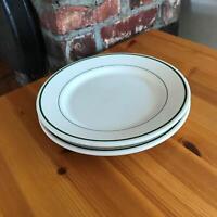 "Set of 2 - 9"" Vintage White Buffalo Green Stripe Restaurant Lunch Diner Plates"