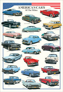 AMERICAN CARS OF THE 1950s Automotive History Huge 27x40 Wall Chart POSTER