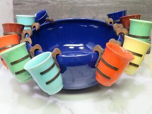 1930s Gladding McBean Franciscan El Patio Pottery Cobalt Punch Bowl 12 Cups RARE