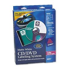 Avery 6695 CD/DVD Design Kit, 30 Labels, 8 Inserts, Matte White ~ Free Shipping
