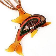 Brown Dolphin Animal Lampwork Glass Murano Bead Pendant Ribbon Cord Necklace