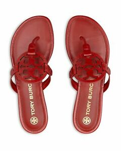 NEW Tory Burch Miller Logo Thong Sandals Flats Red Poinsettia Leather 6 7
