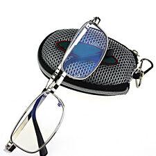 Men Women Silver Folding Reading Glasses Eyeglasses Metal Frame Oval 1.0 -4.0