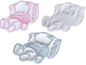 Sleeping Teddy Bear Cute Sew On Satin Applique Motif Pink Blue or White