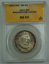 1952 Washington Carver Silver Half Commemorative Coin ANACS MS-63 (B) Toned
