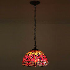 Tiffany Style Dragonfly Stained Glass Hanging Pendant Ceiling Lamp Single Bulb