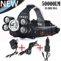 50000LM 5-Head XM-L XML T6 LED 18650 Headlamp Headlight Flashlight&3PCS Chargers