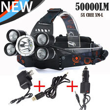 50000LM 5-Head CREE XML T6 LED 18650 Headlamp Headlight Flashlight&3PCS Chargers