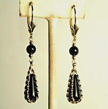 14k solid yellow gold teardrop basket black Onyx earrings lever backs