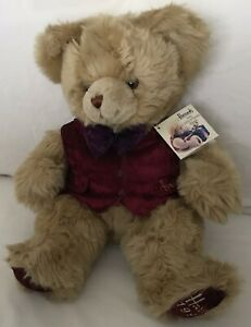 "Harrods 1996 Birthday Foot Dated 13"" Christmas Teddy Bear Named Barnes Tagged"