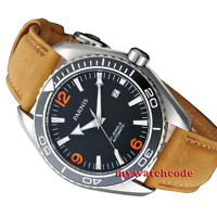 45mm PARNIS black dial ceramice bezel Sapphire Glass miyota automatic mens Watch