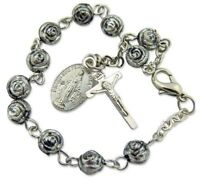 Womens Brushed Silver 6MM Rosebud Bead Rosary Bracelet Miraculous Mary Charm