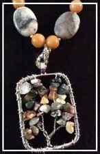 Rutendo 20mm Pterisite Ovals 8mm Jade rounds  Tree of life pendant 3 pc set OOAK