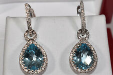 Blue Topaz & Diamond Earrings 18K White Gold