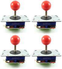 4 x Zippy Ball Top Albero Corto Arcade Joystick, 2/4 / 8 modalità (ROSSO) - Nome, jamma