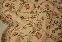 PAIR Vintage French Silk brocade valances 1950s pelmet with fringe floral woven