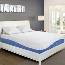 10 Inch Gel Memory Foam Mattress in a Box Sleep Comfort Full Size Blue and White