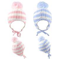 Baby Pom Pom Hat Winter Knitted Beanie Bobble Cap Girl Boy Striped Newborn-12 M