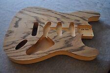 Unfinished Hollow Stratocaster Body Zebra Wood / Basswood SSS 2lb 7oz