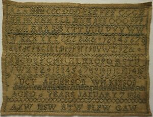EARLY 19TH CENTURY ALPHABET SAMPLER BY LUCY ANDERSON WILKINSON AGED 6 - 1826