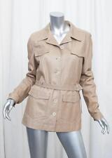 PRADA Womens Beige Leather Long-Sleeve Button-Down Jacket Coat Blazer 46/10 M