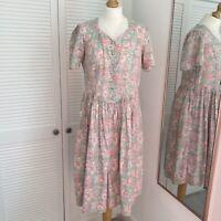 Vintage Laura Ashley Tea Dress Size 14 Floral Lace Collar Prairie Cottagecore