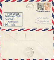 US 1967 LUFTHANSA FIRST FLIGHT LH 411 NEW YORK TO AMSTERDAM FLOWN COVER