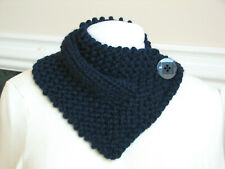 Hand Knit Navy Blue Neck Warmer Scarf  Wrap with Button Closure - Handmade