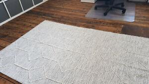 Large Grey Ivory soft 120x180cm Washable rug. Modern Cotton Flecked rug