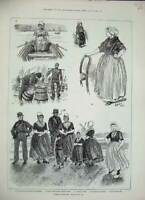 Antique Old Print 1884 Dutch Folk Butter Market Middelburg Haarlem Farmer 19th