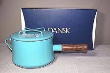 Dansk Kobenstyle Teal 3 Qt. Saucepan Helper Handle & Trivet Lid New Factory 2nd
