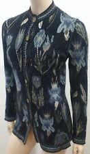 Emanuel Ungaro Parallele Noir & Multicolore Floral Cardigan Tricot HAUT S/M